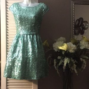 Teal Green Sequined Glam Dress